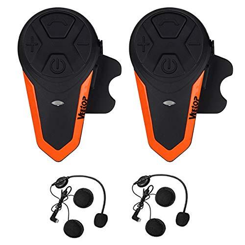 Motorcycle Intercom Bluetooth Helmet Headset - Veetop 1000M Waterproof Motorbike Interphone Helmet Communication System Kits with Walkie Talkie MP3GPS FM Radio for Riding&Skiing 2-3 Riders2 Pack