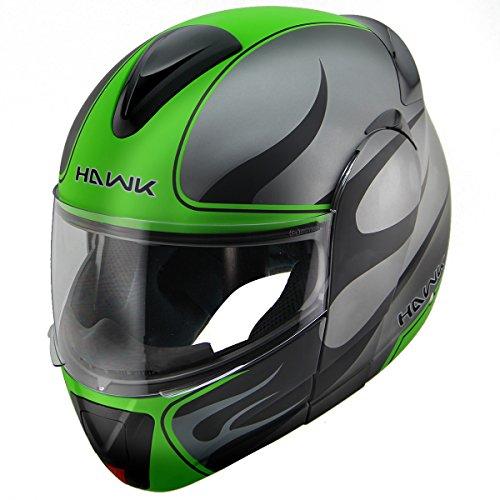 Hawk H-66 Blaze Matte GreyGreen Dual-Visor Modular Motorcycle Helmet - Large