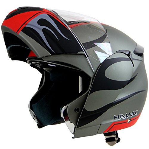 Hawk H-66 Blaze Matte GreyRed Dual-Visor Modular Motorcycle Helmet - Medium