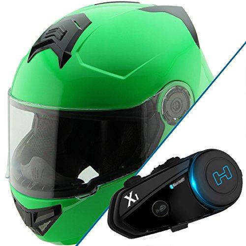 Hawk H-70 Solid Neon Green Modular Motorcycle Helmet with Black X1 Bluetooth He - Medium w X1 Bluetooth