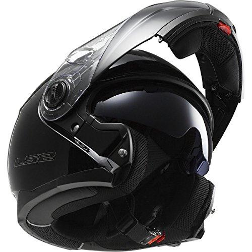 LS2 Helmets Strobe Solid Modular Motorcycle Helmet with Sunshield Black Large