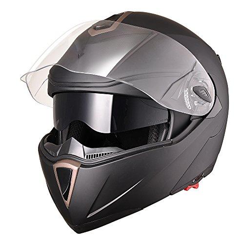 Yescom Full Face Flip up Modular Motorcycle Helmet DOT Approved Dual Visor Motocross Matt Black M