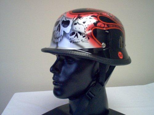 German Red Tribal Flame Skull Novelty Helmet Large