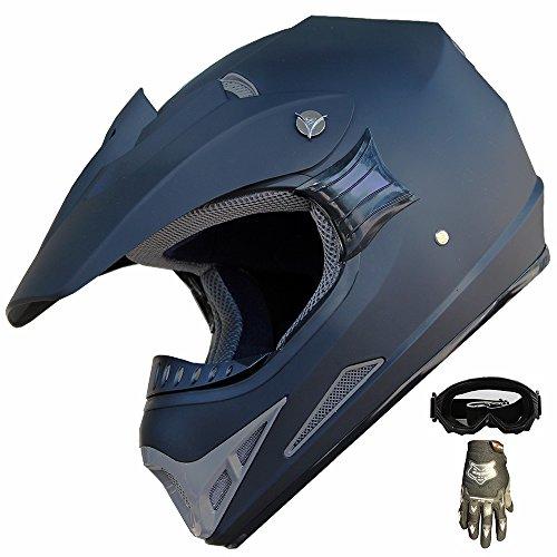 ATV Motocross Dirt Bike Helmet Off Road Combo 402 Matt BlackGlovesGoggles L
