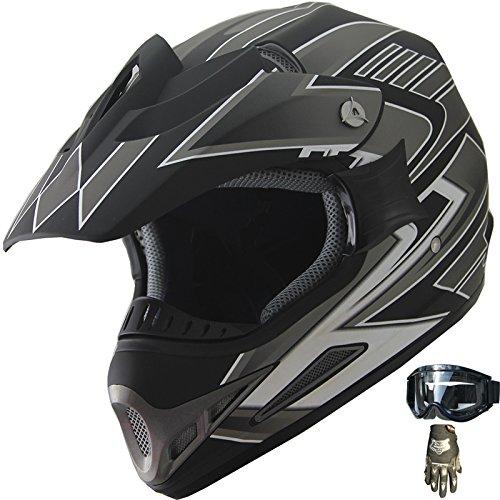 ATV Motocross Off Road Dirt Bike Helmet Combo 189 matt blackglovesgoggles L