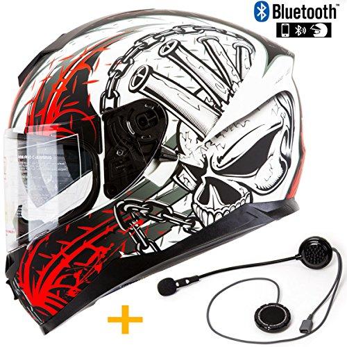 Bluetooth Pre-Installed Motorcycle Helmet IV2 Falcon Series High Performance Dual Visor Full Face Motorcycle Street Bike Helmet DOT Bluetooth Combo Speed Demon Red L