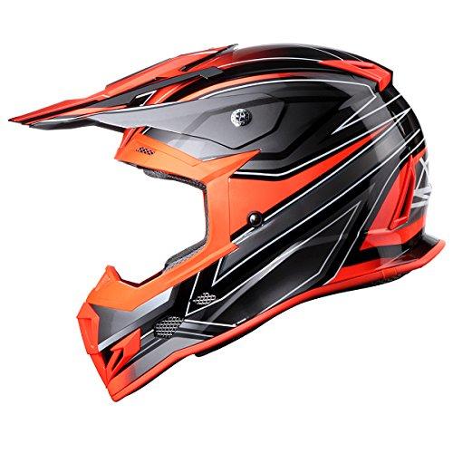 GLX Adult Outdoor High Performance Motocross ATV Dirt Bike Helmet Orange DOT L