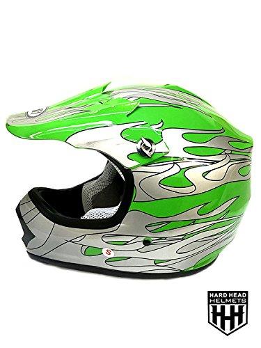 SmartDealsNow DOT Youth Kids Helmet for Dirtbike ATV Motocross MX Offroad Motorcyle Street bike Helmet Medium Green Flame