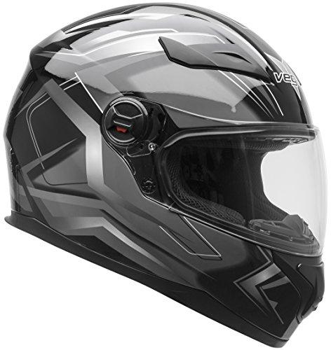 Vega Helmets AT2 Street Motorcycle Helmet for Men Women – DOT Certified Full Face Motorbike Helmet for Cruisers Sports Street Bike Scooter Touring Moped Moto  Black Flash Graphic Medium