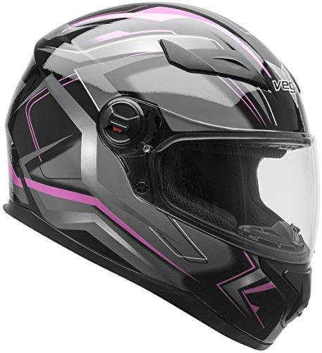 Vega Helmets AT2 Street Motorcycle Helmet for Men Women – DOT Certified Full Face Motorbike Helmet for Cruisers Sports Street Bike Scooter Touring Moped Moto  Pink Flash Graphic Medium