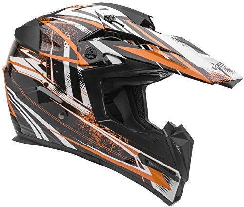 Vega Helmets MIGHTY X Kids Youth Dirt Bike Helmet – Motocross Full Face Helmet for Off-Road ATV MX Enduro Quad Sport 5 Year Warranty  KTM Orange Blitz GraphicLarge