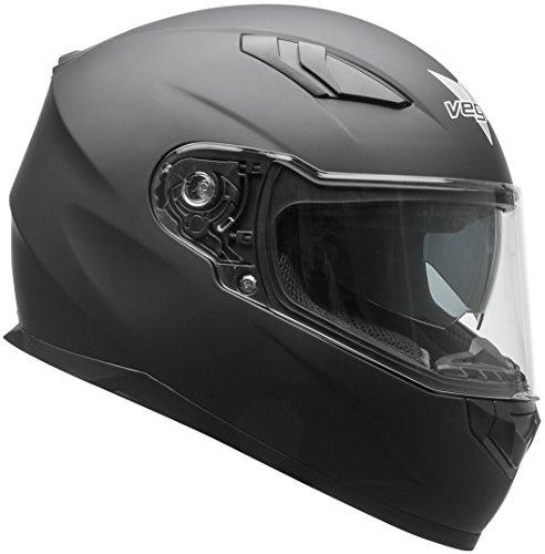 Vega Helmets RS1 Street Sunshield Motorcycle Helmet - DOT Certified Full Face Motorbike Helmet for Cruisers Sports Street Bike Scooter Touring Moped Bluetooth CompMatte Black Large