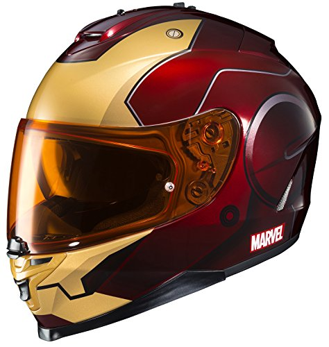 HJC Helmets Marvel IS-17 Unisex-Adult Full Face IRONMAN Street Motorcycle Helmet RedYellow Large