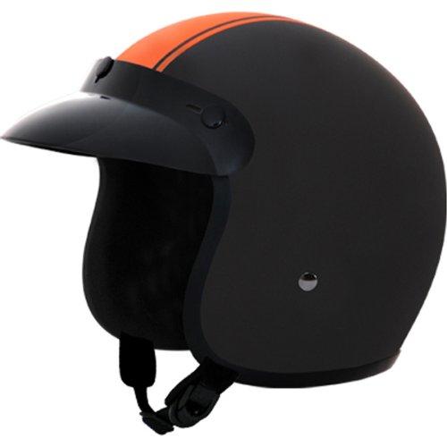 Daytona Orange Pin Stripe DOT Approved 34 Shell Harley Touring Motorcycle Helmet - Large