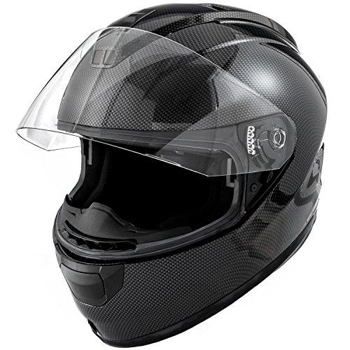 DOT Motorcycle Helmet Full Face KOI Gloss Carbon Fiber w Clear Visor - X-Large