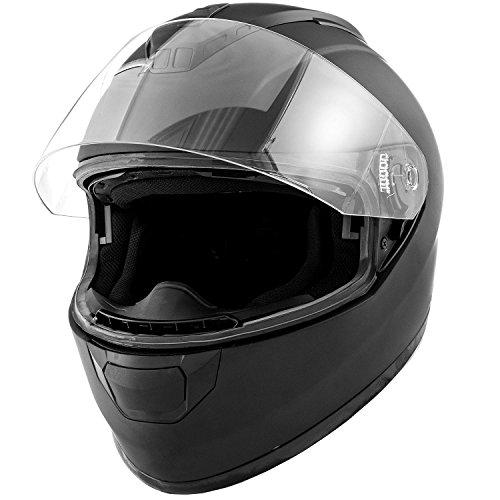 DOT Motorcycle Helmet Full Face KOI Matte Black w Clear Visor - Adult Large