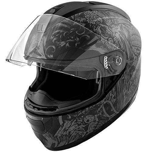 DOT Motorcycle Helmet Full Face KOI Skull Art Matte Grey w Clear Visor - Large