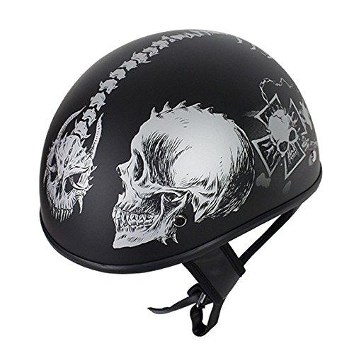 Flat Black DOT Motorcycle Helmet Grey Horned Skeletons Size S SM Small