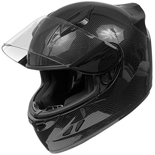 KOI DOT Motorcycle Helmet Full Face KOI Gloss Carbon Fiber w Clear Visor - Small