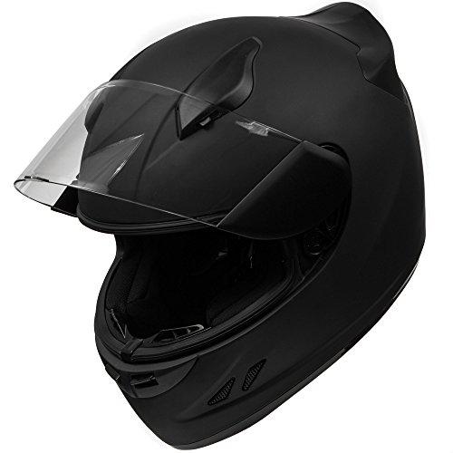 KOI DOT Motorcycle Helmet Full Face Sportbike KOI Matte Black Clear Visor - X-Large