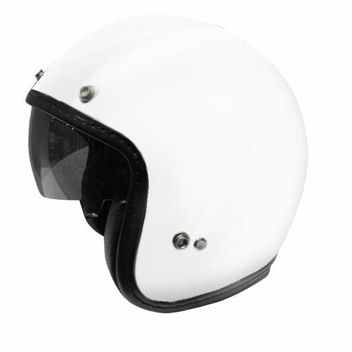 Zoan 34 Retro Gloss White Open Face DOT Motorcycle Helmet w Sun Visor Large