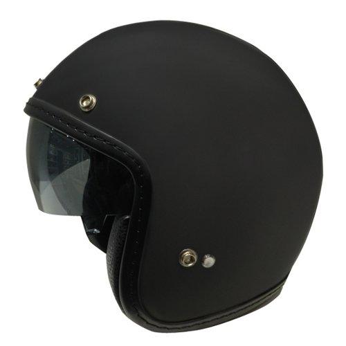 Zoan 34 Retro Matte Black Open Face DOT Motorcycle Helmet w Sun Visor 2X-Large