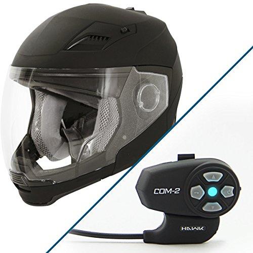 Hawk Evolution 2-IN-1 Flat Black Modular Helmet with Hawk COM-2 Bluetooth Inter - 2X-Large w COM-2 Intercom