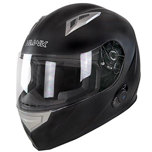 Hawk H-500 Flat Black Bluetooth Full Face Helmet - Large
