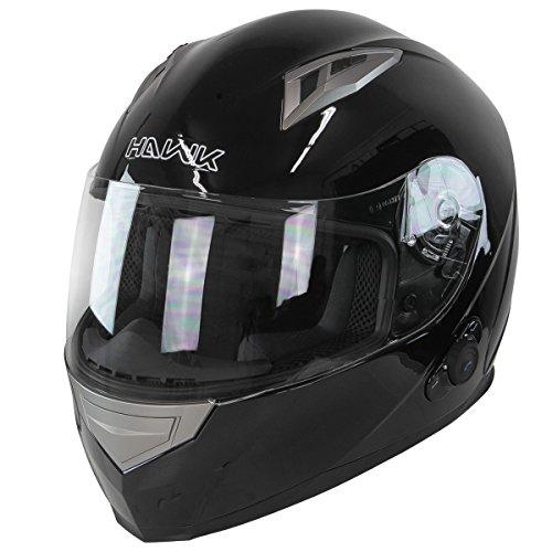 Hawk H-510 Glossy Black Bluetooth Full Face Helmet - Large