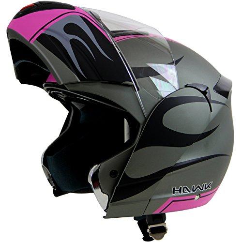 Hawk H-6656 Blaze Matte GreyPink Dual-Visor Modular Motorcycle Helmet - Large