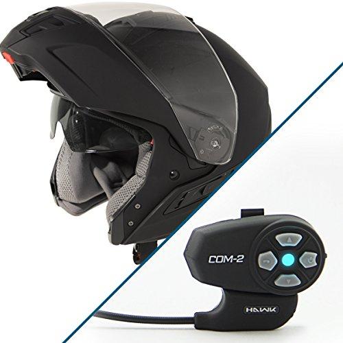 Hawk ST-11121-7FB FX Flat Black Modular Helmet with Hawk COM-2 Bluetooth Interc - 2X-Large w COM-2 Intercom