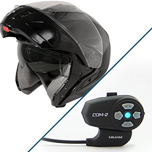 Hawk ST 11121 8GB FX Gloss Black Modular Helmet with Hawk COM-2 Bluetooth Inter - 2X-Large w COM-2 Intercom