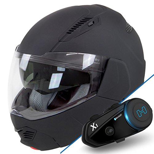 Hawk ST-1197 InFlux Matte Black Bundle 2 in 1 Modular Helmet with Hawk X1 Black - Medium w X1 Bluetooth