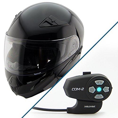Hawk XFZ-9120 Gloss Black Modular Helmet with Hawk COM-2 Bluetooth Intercom - 2X-Large w COM-2 Intercom