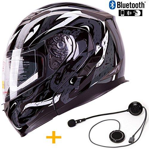 Bluetooth Combo IV2 Dual Visor Modular Flip-Up Motorcycle Adventure Touring Helmet DOT with Bluetooth Unit Pre-Installed L Viper Black