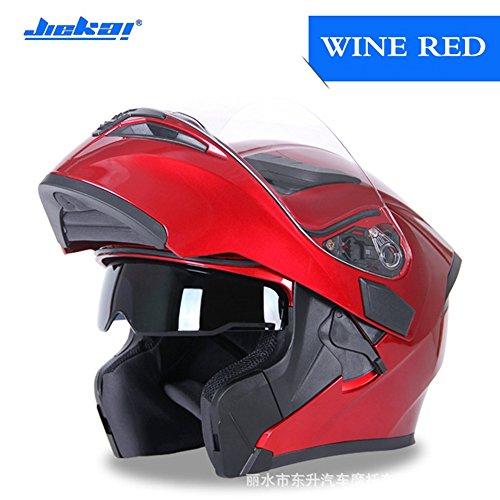 DOT Approved Motorcycle Helmet Open Face Full Face Helmet JK-902 moped helmet flip up dual visor Street Bike Helmet for Adult Men and WomenWine Red L