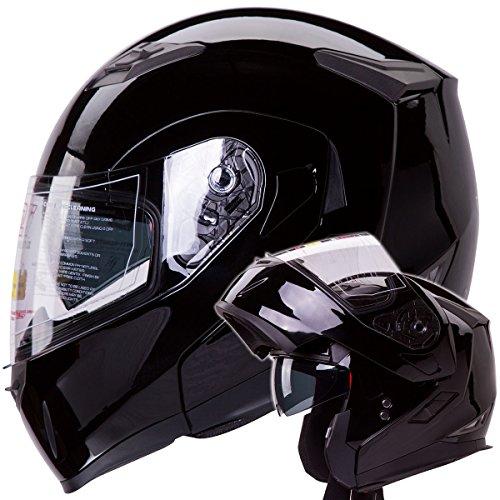 Dual Visor Modular Flip up Gloss Black Motorcycle Snowmobile Helmet DOT L