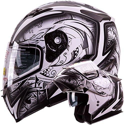 IV2 Helmets DEMON SAMURAI Dual Visor Modular Flip up Motorcycle Snowmobile Helmet DOT S