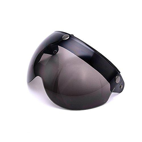 Pilot-Style Universal 3 Snap-Button Visor for Open Face Motorcycle Helmet Wind Shield Flip Up Down By MotorFansClubDark Smoke