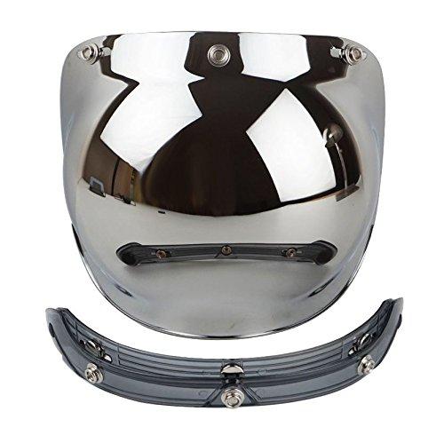 TOOGOO Motorcycle Helmet Visors Retro Bubble Helmets Full Visor for 3 Lock Closures silver plated