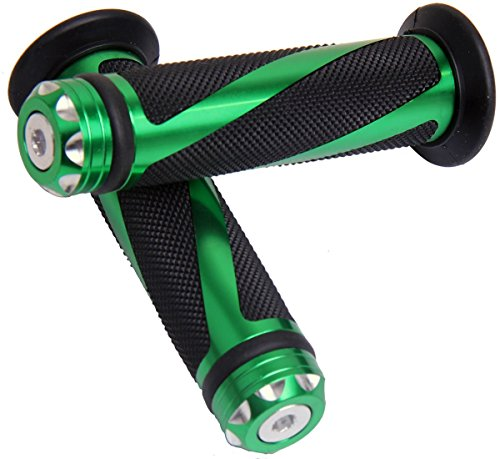 Green Motorcycle 78 22mm Handle Bar Grips with End for 1996 Honda Transalp 600 XL600V