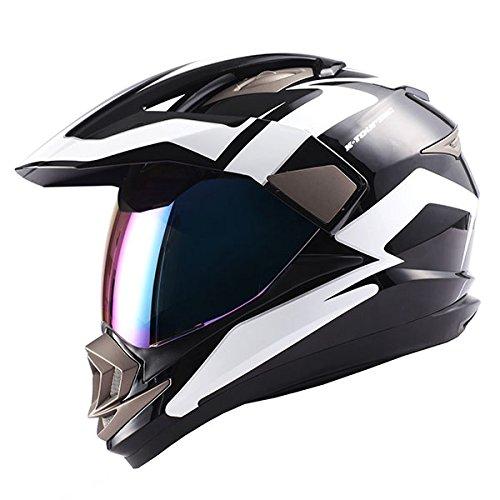 Dual Sport Motorcycle Motocross Off Road Full Face Helmet Racing Black WhiteSize L