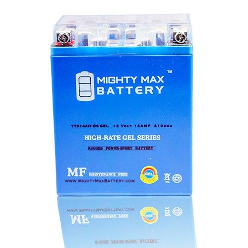 YTX14AH 12V 12AH GEL Battery for Kawasaki KLF300-C Bayou 300 4x4 89-04 - Mighty Max Battery brand product