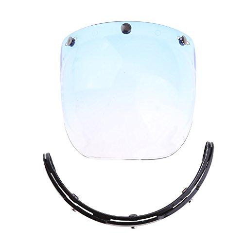 MagiDeal Motorcycle 3-Snap Helmet Visor Shield Flip Up Down for Harley - Blue Lens