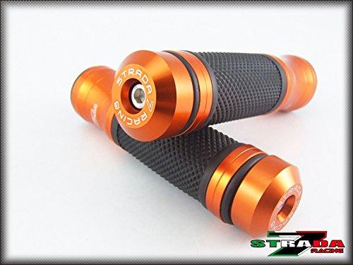 Strada 7 Racing CNC Aluminum Hand Grips And Bar Ends Combo Orange For Yamaha FZ6 Fazer