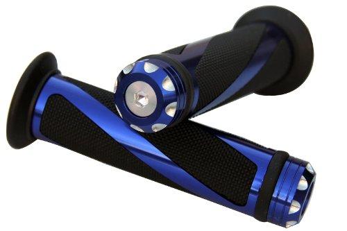 ALUMINUM MOTORCYCLE 78 22MM HANDLEBAR GEL RUBBER HAND GRIPS WITH BLUE CNC BAR END CAP FOR 2003 Buell Firebolt XB9R