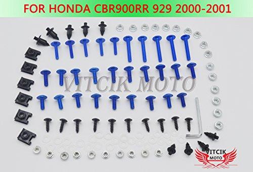 VITCIK Full Fairings Bolt Screw Kits for Honda CBR 900 RR 929 2000 2001 CBR 900 RR 929 00 01 Motorcycle Fastener CNC Aluminium Clips Blue Silver