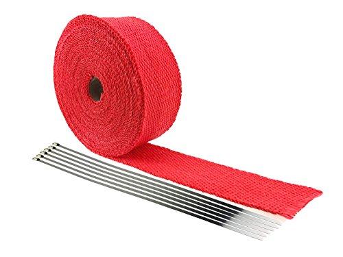 IZTOSS 225 x 2 x 328 Red Fiberglass Exhaust Heat Wrap Heat Shield Sleeve with 6 Stainless Steel304 Zip Ties