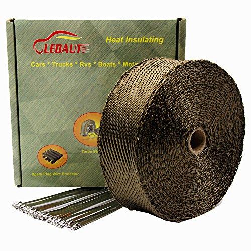 LEDAUT 2x 50 Twill Weave Motorcycle ATV Titanium Exhaust Heat Shield Wrap with 118 Locking Ties Pack of 15