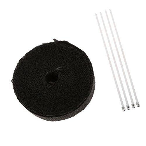 MonkeyJack Glassfiber Exhaust Pipe Header Heat Wrap Resistant Downpipe Tape Roll 2 X 32ft 5cm X 10m with 4 Metal Ties - Black